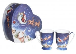 2pcs(280cc) Santa Sleigh Ride Mug Set